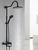 Matte Shower System Rain Shower with  Ceramic Valve Single Handle Two Holes for  Black , Shower Faucet