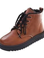 preiswerte -Damen Schuhe PU Winter Springerstiefel Stiefel Runde Zehe Mittelhohe Stiefel Für Normal Schwarz Braun