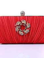 Women Bags Polyester Evening Bag Crystal Detailing for Wedding Event/Party All Season Gold Black Silver Red Purple