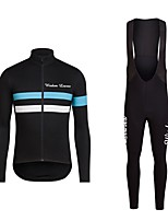 Cycling Jersey with Bib Tights Unisex Long Sleeves Bike Jersey Clothing Suits Bike Wear Fast Dry Geometric Cycling / Bike Bule/Black Black