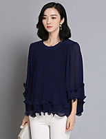 Women's Daily Active Spring Fall/Autumn Blouse,Solid Round Neck Half Sleeves Nylon Thin