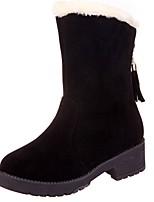 Недорогие -Для женщин Обувь Нубук Зима Зимние сапоги Ботинки Круглый носок Сапоги до середины икры Стразы Назначение Повседневные Черный Желтый