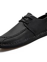 Для мужчин обувь Полиуретан Весна Осень Удобная обувь Туфли на шнуровке Назначение Черный Оранжевый