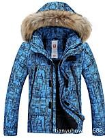 Men's Ski Jacket Warm Waterproof Windproof Breathability Ski / Snowboard Hiking Cross Country Faux Fur Cotton Eco-friendly Polyester