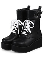 cheap -Women's Shoes PU Winter Fall Comfort Novelty Boots Wedge Heel Round Toe Booties/Ankle Boots Buckle For Office & Career Dress Black White