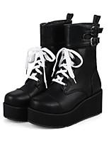 Недорогие -Для женщин Обувь Полиуретан Зима Осень Удобная обувь Оригинальная обувь Ботинки Туфли на танкетке Круглый носок Ботинки Пряжки Назначение