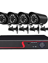 4 Channel 1080N AHD DVR Security Camera System with 4 Weatherproof 1.0MP Cameras with Night Vision