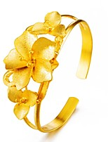 Недорогие -Жен. Браслет цельное кольцо Браслет разомкнутое кольцо С цветами азиатский Подарок Милый Мода Позолота Бижутерия Назначение Свадьба