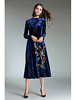 Women's Party Cute Shift Sheath Dress,Solid Print Turtleneck Maxi Long Sleeve Polyester Fall Mid Rise Inelastic Opaque