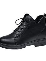 preiswerte -Damen Schuhe PU Winter Komfort Modische Stiefel Stiefel Blockabsatz Runde Zehe Für Normal Schwarz Braun