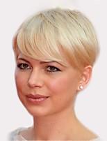 cheap -Women Human Hair Capless Wigs Strawberry Blonde/Light Blonde Medium Auburn Natural Black Short Straight Side Part