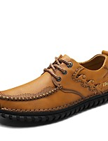 cheap -Shoes Cowhide Nappa Leather Leather Spring Fall Driving Shoes Formal Shoes Comfort Oxfords for Casual Office & Career Light Brown Dark