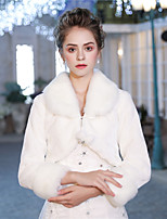 3/4 Length Sleeves Faux Fur Wedding Party / Evening Women's Wrap With Smooth Lace-up Pom-pom Shrugs