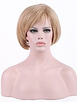 жен. Парики из искусственных волос Без шапочки-основы Короткий Темно-рыжий Природные волосы Стрижка каскад Парик из натуральных волос