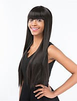 cheap -Women Wigs With Bangs  Graceful Black Color Long Straight  Synthetic Wigs