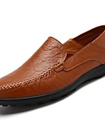 Men's Shoes Real Leather Nappa Leather Spring Fall Moccasin Comfort Loafers & Slip-Ons For Casual Brown Yellow Black