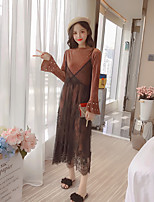 Women's Going out Simple Spring Set Dress Suits,Solid Round Neck Long Sleeves Lace Cotton Micro-elastic