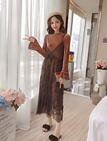 Damen Solide Einfach Ausgehen Set Kleid Anzüge Langarm Spitze Baumwolle