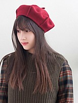 cheap -Women's Cotton Beret Hat,Work Casual Solid Circle Spring, Fall, Winter, Summer Artistic Style Red Black