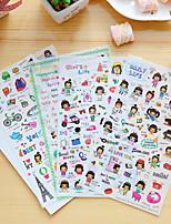 cheap -4 Pcs/Set Cartoon Girl Diary Sticker Phone Sticker Scrapbook Stickers