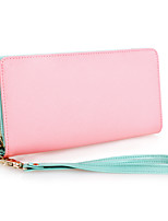 Women Bags Cowhide Wallet Zipper for Event/Party Office & Career All Season Green Black Blushing Pink Fuchsia