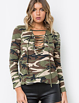 cheap -Women's Daily Holiday Street chic T-shirt,Camouflage V Neck Long Sleeve Polyester