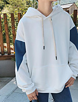 cheap -Men's Daily Going out Hoodie Color Block Hooded Micro-elastic Polyester Long Sleeves Winter Fall