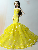 cheap -Dresses Dress For Barbie Doll matte yellow Dress For Girl's Doll Toy