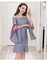 Women's Going out Casual Winter Fall T-shirt Skirt Suits,Plaid/Check Boat Neck Half Sleeves Polyester