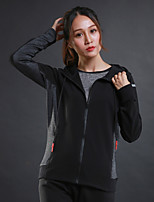 Women's Running Jacket Long Sleeves Thermal / Warm Breathable Hoodie for Running/Jogging Exercise & Fitness Terylene Black Grey S M L XL