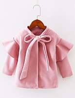 cheap -Girls' Solid Jacket & Coat,Polyester Long Sleeves Cute Brown Red Blushing Pink