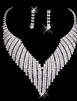 Women's Drop Earrings Necklace Luxury Bling Bling Rhinestone Alloy Earrings Necklace For Wedding Party Wedding Gifts