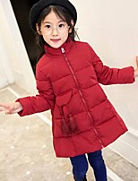 cheap -Girls' Solid Down & Cotton Padded,Cotton Rayon Polyester Long Sleeves Cute Casual Red Blushing Pink Khaki