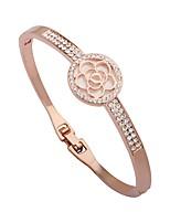 Femme Manchettes Bracelets Bracelet Strass Classique Mode Plaqué or Alliage Forme de Cercle Fleur Bijoux Pour Sortie