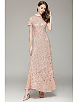 Sheath / Column High Neck Floor Length Sequined Formal Evening Dress with by YIYIAI