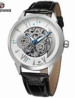 Недорогие -FORSINING Муж. Модные часы Наручные часы С автоподзаводом С гравировкой Кожа Группа На каждый день Cool Черный