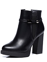 cheap -Women's Shoes Leatherette Winter Fluff Lining Fashion Boots Boots Chunky Heel Pointed Toe Booties/Ankle Boots Buckle For Casual Office &