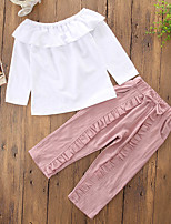 cheap -Girls' Solid Slim Clothing Set,Cotton Polyester Fall Spring, Fall, Winter, Summer Cute Active Blushing Pink