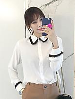 Недорогие -Для женщин На каждый день Рубашка Рубашечный воротник,Изысканный Однотонный Длинный рукав,Хлопок