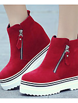 cheap -Women's Shoes Nubuck leather Spring Fall Comfort Boots For Casual Red Black