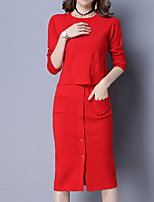 Women's Daily Casual Winter Fall Set Dress Suits,Solid Round Neck Long Sleeves Acrylic
