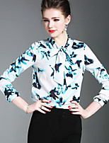 Women's Daily Going out Vintage Shirt,Floral V Neck Long Sleeves Polyester