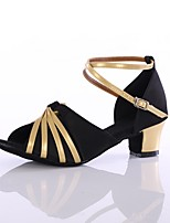 Women's Latin Customized Materials Heel Indoor Customized Heel Black/Gold 1