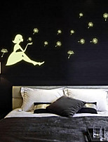 Glow in the Dark Vinyl Wall Decal Stickers Dandelion Girl Bedroom Art