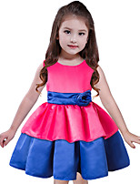 Girl's Holiday Going out Patchwork Dress,Polyester Sleeveless