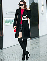 Women's Casual/Daily Sophisticated Fall Winter Fur Coat,Solid Notch Lapel Long Sleeves Long 100% cashmere Lamb Fur