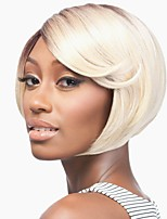 Women Synthetic Wig Capless Short Blonde Dark Roots Bob Haircut Celebrity Wig Natural Wigs Costume Wig