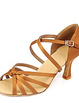 Women's Latin Elastic Satin Sandal Indoor Stiletto Heel Camel 2 - 2 3/4