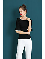 cheap -ZIYI Women's Daily To-Go Sophisticated Spring/Fall Sweater,N/A Round Neck Half Sleeve Nylon Medium