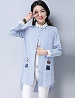 cheap -Women's Daily Street chic Shirt,Striped Shirt Collar Long Sleeves Cotton